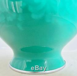 12.4 Vintage ANDO Japanese Musen Shippo Jade Green Cloisonne Vase with Wood Stand