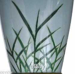 1917 Japanese Two Tone Cloisonne Enamel Vase Grass Asahi Shimbun Osaka Dated