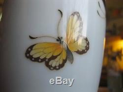 1920's Ando Japanese Cloisonne Vase BUTTERFLY marked copper rim art-nouveau