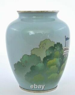 1925 Japanese Gonda Hirosuke Cloisonne Enamel Vase NHK Radio Building House