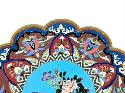 19th CENTURY JAPANESE MEIJI PERIOD CLOISONNE PLATE / CHARGER 31cm DIA