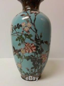 19th C. Japanese Cloisonne Enamel on Bronze 12 Vase, Flowers & Birds