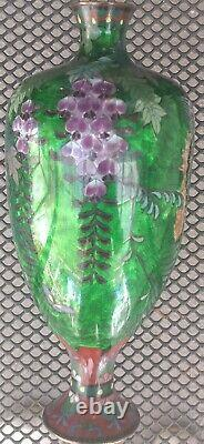 19th C. Japanese Cloisonne Enamel on Bronze 9 Vase, Ginbari Foil Decoration