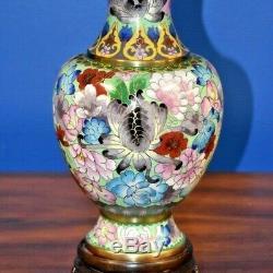 25 Chinese Vintage Cloisonne Vase Lamp-floral-asian-oriental-porcelain-japanese