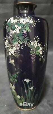 2 Antique Japanese Cloisonne Vases 6 Tall Birds Iris Flowering Trees