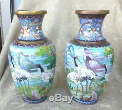 2 Antique Oriental Scenic Bronze Cloisonne Vases Birds Herons Chinese Japanese