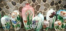 2 LOT Antique Japanese Ginbari Cloisonné Vase FLOWER Motif LILY & PEONY
