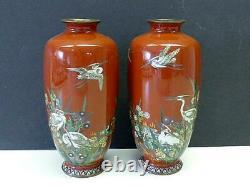 2 Meiji Era 1868-1913 Japanese CLOISONNE Mirror Image Enamel Vase Birds Flowers