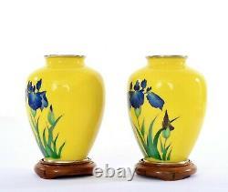 2 Old Japanese Yellow Cloisonne Enamel Shippo Vase Blue Iris Flowers Wood Stand
