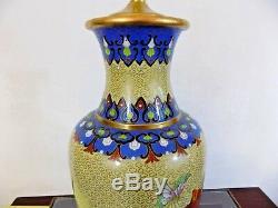 33 Chinese Vintage Cloisonne Vase Lamp Japanese Porcelain Enamel