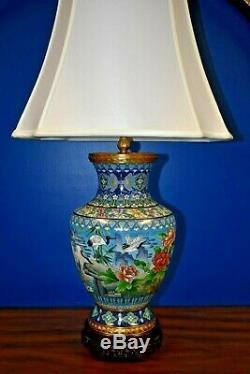 36 Chinese Cloisonne Vase Lamp Cranes Asian-oriental-porcelain-japanese