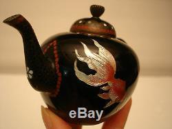 3 H Japanese Meiji Period Wire Cloisonne Miniature Tea Pot