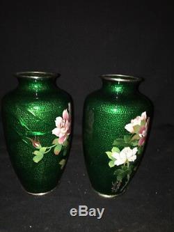 7 3/8 Pr Japanese Green Floral Cloisonné Vases