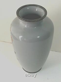 7 Japanese Cloisonné Enameled INABA Gray Elegant Vase Silver Rim