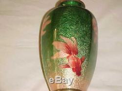 8 1/2 Ota Toshiro Japanese Ginbari Enamel Copper Cloisonne Vase Oranda Goldfish