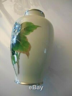 9 1/2 tall mid century silver wire Japanese Cloisonné vase