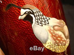9 3/4 MARKED Ando Silver JAPANESE SHOWA SILVER CLOISONNE VASE / BOBWHITE QUEIL