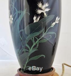 9.5 Antique Meiji Japanese Cloisonne Vase with Flowers Made into a Lamp (14.9)