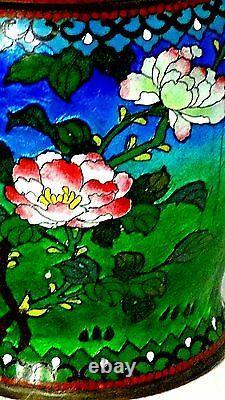 ANTIQUE 19c JAPANESE IRIDESCENT CLOISONNE HUMIDOR WithENAMEL FLORAL DECORATION