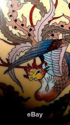 ANTIQUE 19c JAPANESE UNIQUE CLOISONE ENAMEL GLAZE DRAGON&PHOENIX, FLOWERS VASE