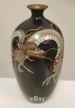 ANTIQUE JAPANESE CLOISONNE 3-Toed Dragon Enamel Vase MEIJI Hayashi style