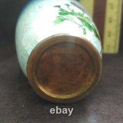 ANTIQUE Japanese Cloisonne Ginbari FLOWERS 3.25 Vase unsigned