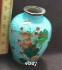 ANTIQUE tiny Japanese Cloisonne Ginbari cherry blossom 2.25 Vase MATSU YA