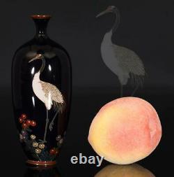 A BEAUTIFUL antique JAPANESE CLOISONNE VASE CRANE BIRD FLOWERS MEIJI 19TH