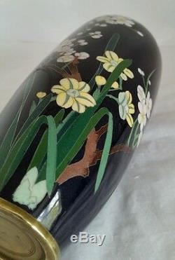 A Japanese Cloisonné vase. Decorated with blossoming Lotus. Meiji Period c1890