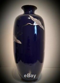 A Monumental Meiji Japanese Cloisonne Cranes Vase