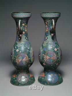A Pair 19th Century Japanese Cloisonné Enamel Vases by Kaji Tsunekichi