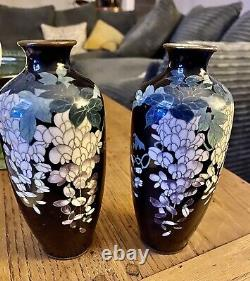 A Pair Of Antique Cloisonne Vases Decorated With Wisteria Flowers See Photos Etc