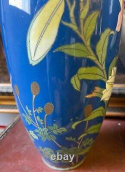 A Pair Of Large Early 20th Century Japanese Cloisonne Enamel Vases