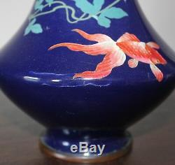 A big and very special shape marked Japanese cloisonne goldfish vase 598