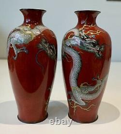 A magnificent pair of Japanese cloisonne vases. Meiji period