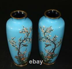 A pair of vintage Japanese cloisonne enamel vases circa 1900 1237