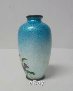 Adachi Kinjiro Japanese Meiji Cloisonne Ginbari Enamel 3.5 Vase, Geisha