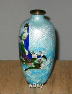Adachi Signed Meiji Japanese Ginbari Cloisonne Enamel Vase Deity Riding Serpent