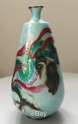 Ancien vase japonnais argent massif émaillé cloisonné dragon 18cm japanese
