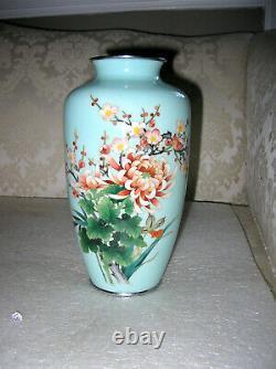 Ando Jubei Japanese Cloisonne Vase Signed 10