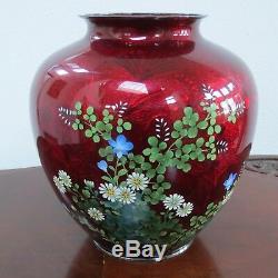 Ando Jubei Japanese FLOWER STERLING SILVER Cloisonne Flower Vase