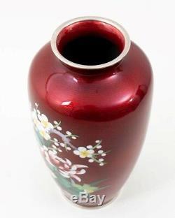 Ando Jubei Japanese Pigeon Blood Red Cloisonne Enamel Vase 10 Floral Design