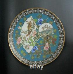 Antique 1900 Plate tray Bronze Cloisonne Charger Japanese Meiji vase Dish