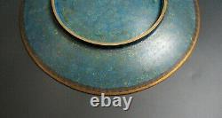 Antique 1900 Plate tray Bronze Cloisonne Charger Japanese Meiji vase Dish bowl