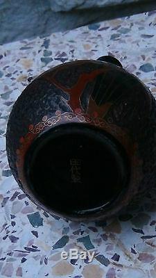 Antique 19c Japanese Totaitree Bark Cloisonne Over Porcelain Vase Bottle Shape