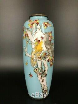 Antique 19th C Japanese cloisonne enamel vase with birds