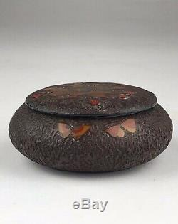 Antique 19th C Meiji Era Japanese Totai Shippo Tree Bark Cloisonne Jar