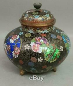 Antique 19th Century Japanese Cloisonne Koro Pot. Meiji Period 1868-1912