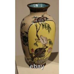 Antique 19th Japanese Bronze Pair of cloisonné vases with Ibis decor