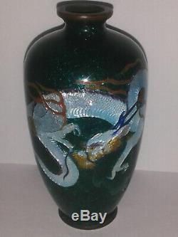 Antique 4 JAPANESE MEIJI bronze DRAGON green silver foil Cloisonne cabinet Vase